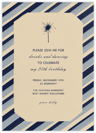 Diagonal Stripe Tall - Navy and Pacific - Paperless Post - Adult Birthday Invitations