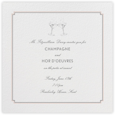 Indented Corners - Antique Pink and Black - Paperless Post - Dinner Party Invitations