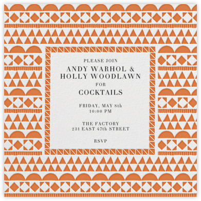 Geometric Border - Orange - Paperless Post - Dinner Party Invitations