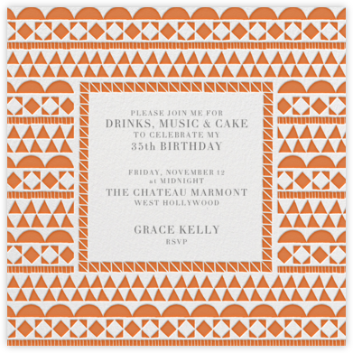 Geometric Border - Orange - Paperless Post - Adult Birthday Invitations