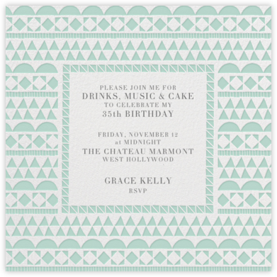 Geometric Border - Celadon - Paperless Post - Adult Birthday Invitations