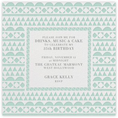 Geometric Border - Celadon - Paperless Post - Adult birthday invitations