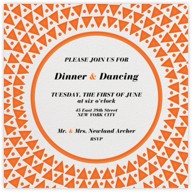 Radial Triangles - Orange - Paperless Post - Dinner Party Invitations