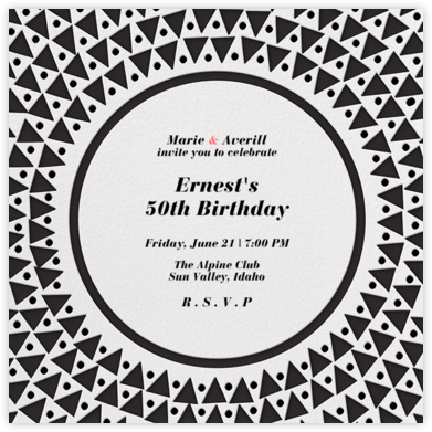 Radial Triangles - Black - Paperless Post - Adult Birthday Invitations