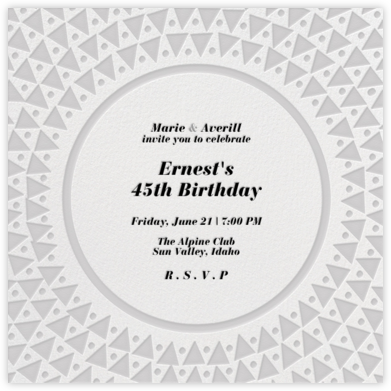 Radial Triangles - Gray - Paperless Post - Adult Birthday Invitations