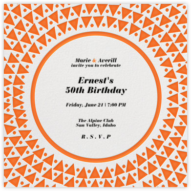 Radial Triangles - Orange - Paperless Post - Adult Birthday Invitations