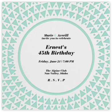 Radial Triangles - Celadon - Paperless Post - Adult Birthday Invitations