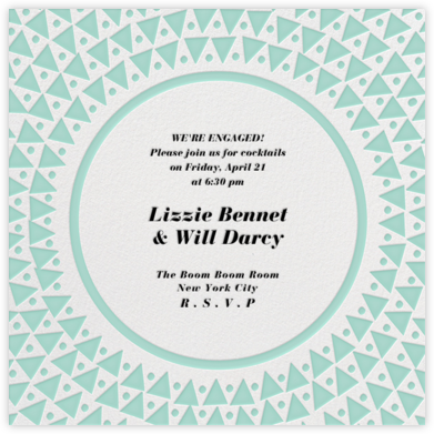 Radial Triangles - Celadon - Paperless Post - Engagement party invitations