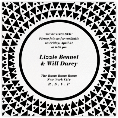 Radial Triangles - Black - Paperless Post - Engagement party invitations