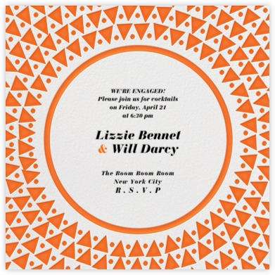 Radial Triangles - Orange - Paperless Post - Engagement party invitations