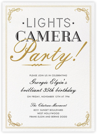 Lights, Camera, Party - Crate & Barrel - Birthday invitations