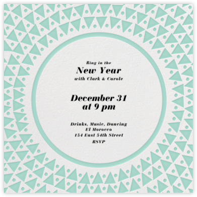 Radial Triangles - Celadon - Paperless Post - New Year's Eve Invitations