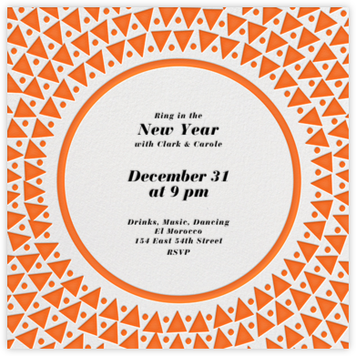 Radial Triangles - Orange - Paperless Post - New Year's Eve Invitations