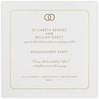 Indented Rounded Corners - Gold - Paperless Post - Engagement party invitations