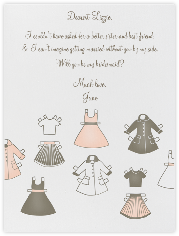 Paper dolls - Linda and Harriett - Will You Be My Bridesmaid Cards