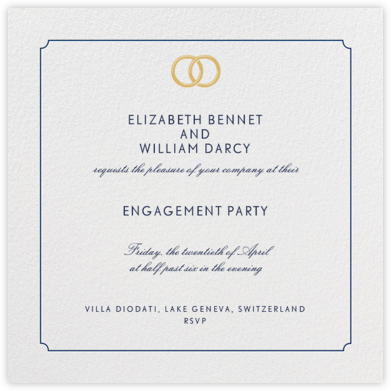 Indented Rounded Corners - Dark Blue - Paperless Post - Engagement party invitations