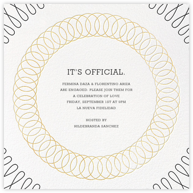 Spirals (Square) - Gold - Paperless Post - Engagement party invitations