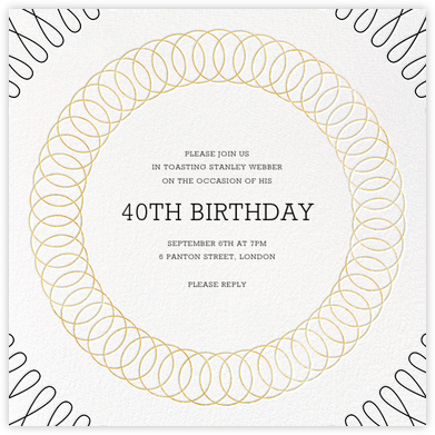 Spirals (Square) - Gold - Paperless Post - Adult Birthday Invitations
