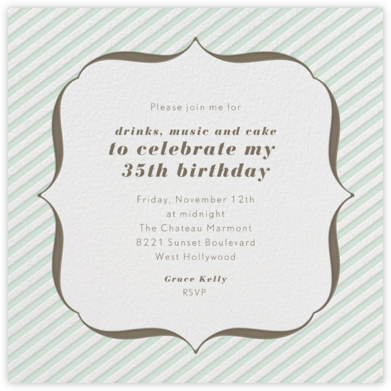 Circus Stripe - Mint and Clay - Paperless Post - Adult Birthday Invitations
