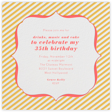 Circus Stripe - Mango and Coral - Paperless Post - Adult Birthday Invitations