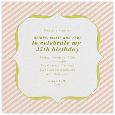 Circus Stripe - Salmon and Chartreuse - Paperless Post - Adult Birthday Invitations