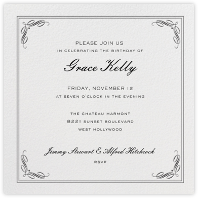 Regency (Square) - Black - Paperless Post - Adult Birthday Invitations