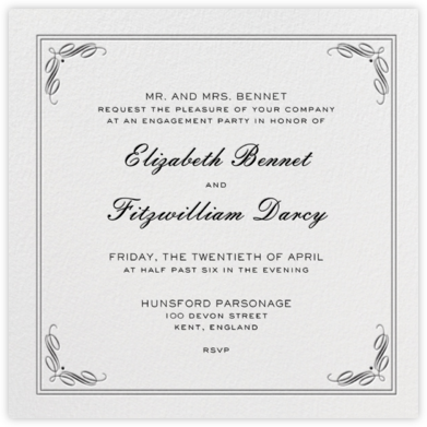 Regency (Square) - Black - Paperless Post - Engagement party invitations