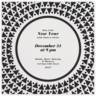 Radial Triangles - Black - Paperless Post - New Year's Eve Invitations