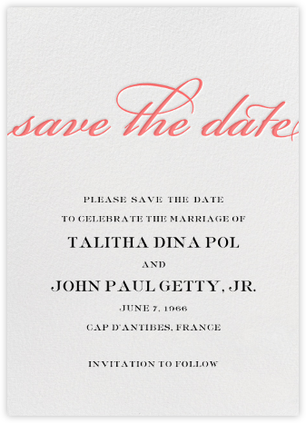 Simple Script (Save the Date) - Coral - Paperless Post - Save the dates