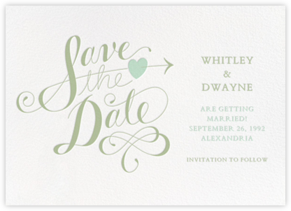 Script Heart - White/Sage - Paperless Post - Save the dates