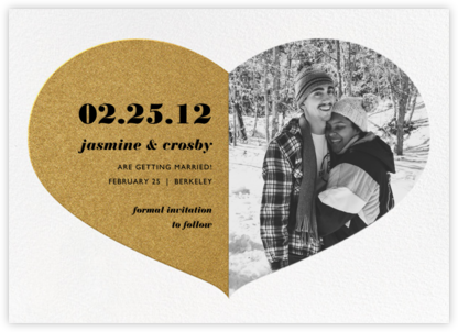 Love Saves the Date - Gold - Paperless Post - Online Party Invitations