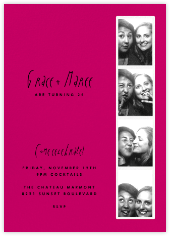Photo Booth - Hot Pink - Paperless Post - Adult Birthday Invitations