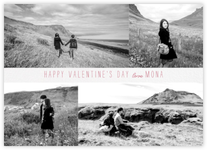 Four Photo Title Card - Ivory - Paperless Post - Valentine's Day Cards