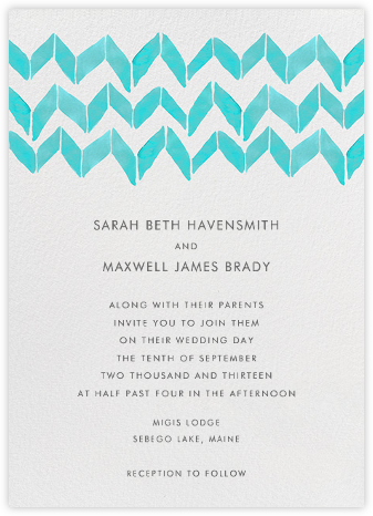 Big Zig Zag - Aqua - Linda and Harriett - Wedding Invitations