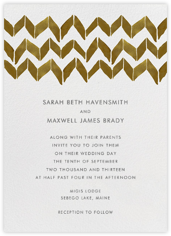 Big Zig Zag - Brown - Linda and Harriett - Wedding Invitations