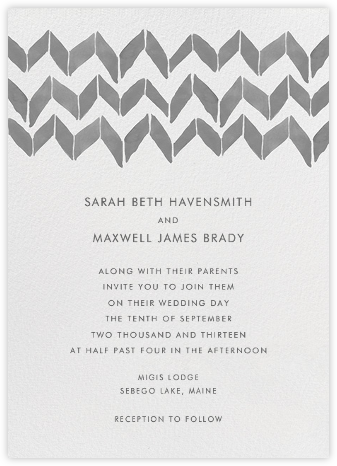 Big Zig Zag - Grays - Linda and Harriett - Wedding Invitations