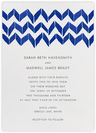 Big Zig Zag - Navy - Linda and Harriett - Wedding Invitations
