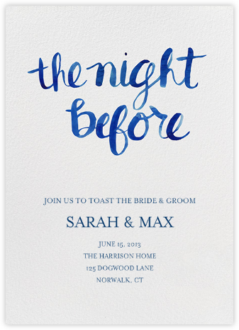 The Night Before - Blue - Linda and Harriett - Wedding Weekend Invitations