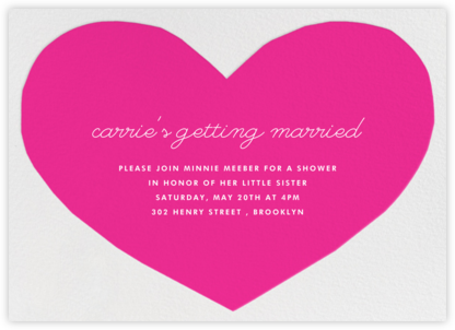 Heart - Pink - The Indigo Bunting - Valentine's Day invitations