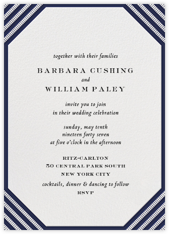 Claridge (Tall) - Navy - Paperless Post - Wedding Invitations
