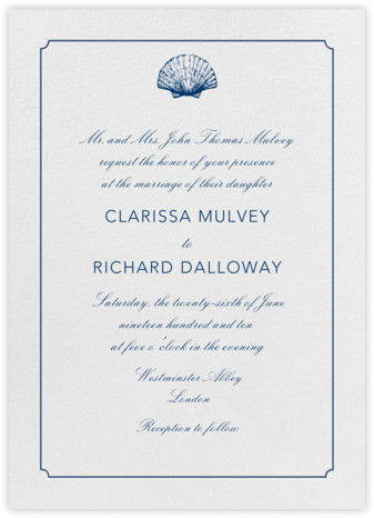 Indented Rounded Corners Tall - Dark Blue - Paperless Post - Wedding Invitations