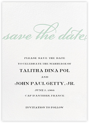 Simple Script (Save the Date) - Mint - Paperless Post - Save the dates