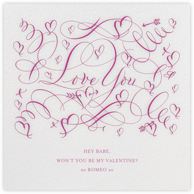 Love You - Fuschia - Bernard Maisner - Anniversary Cards
