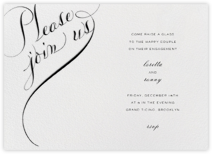 Please Join Us (Horizontal) - Black - Bernard Maisner - Engagement party invitations