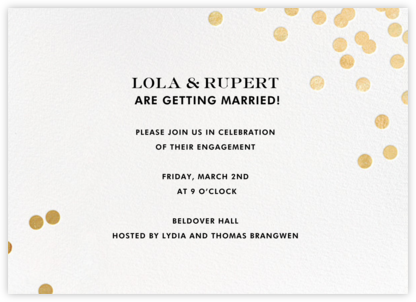 Confetti - White/Gold - kate spade new york - Engagement party invitations