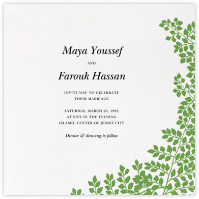 Fern II (Invitation) - Green - Paperless Post - Wedding Invitations