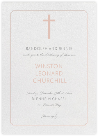 Indented Rounded Corners (Tall) - Antique Pink - Paperless Post - Christening Invitations