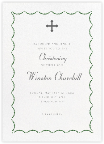 Garland - Green - Paperless Post - Christening Invitations