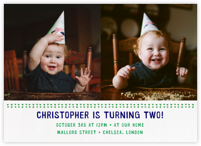 Triangles Splitscreen - Emerald - Paperless Post - First Birthday Invitations