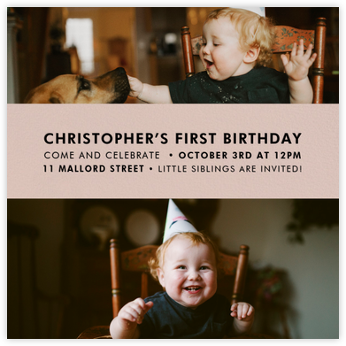 Title Card - Antique Pink - Paperless Post - First Birthday Invitations
